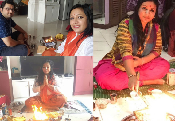 Kanika - Performing Havan- Indian ladies can perform havan in India and abroad