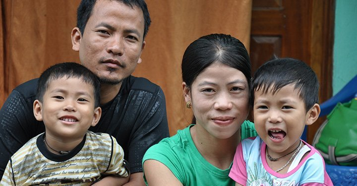 Mary Kom with her family