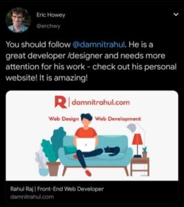 Eric Howey tweet for rahul raj