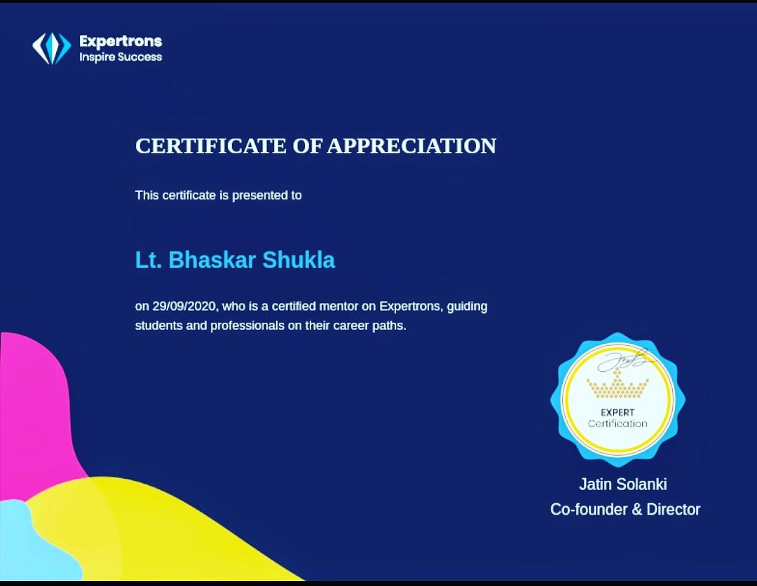 bhaskar shukla certificates