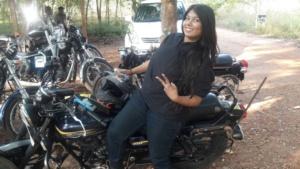 Biking All The Way - Mitsu Chawda with Victory sign
